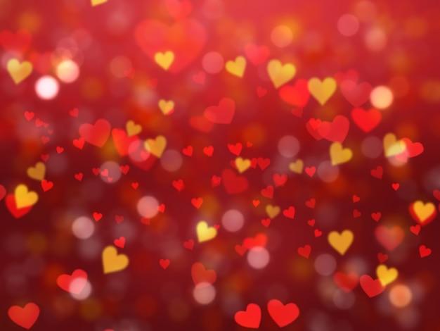 Fondo del día de san valentín con luces bokeh en forma de corazón
