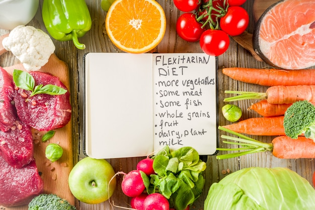 Fondo de dieta flexitaria ingredientes alimenticios, carne, marisco y verduras