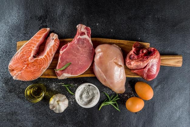 Fondo de dieta de proteína carnívora