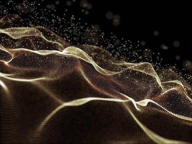 Fondo digital 3d con puntos cibernéticos dorados que fluyen