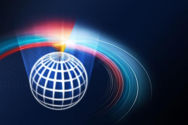 Fondo digital abstracto de redes globales con rayos de luz y curvas de curvatura
