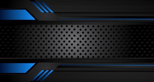 Fondo de diseño de concepto de innovación de marco negro azul metálico abstracto