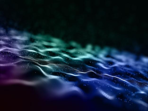 Fondo de diseño de ondas de partículas digitales abstractas 3d