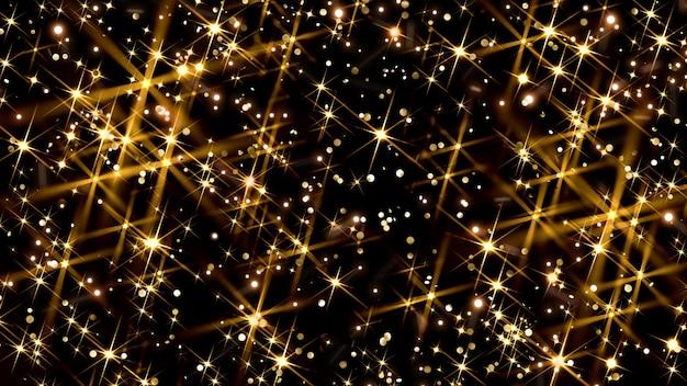 Fondo dorado festivo de navidad o año nuevo con brillo bokeh luces doradas sobre negro