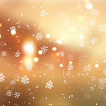 Fondo dorado de navidad con copos de nieve y nieve