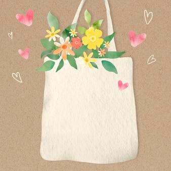Fondo ecológico con flores en la ilustración de la bolsa de asas