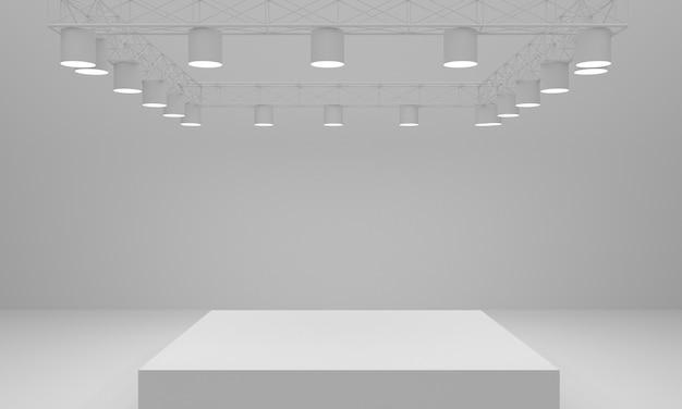 Fondo de escenario y reflector. representación 3d