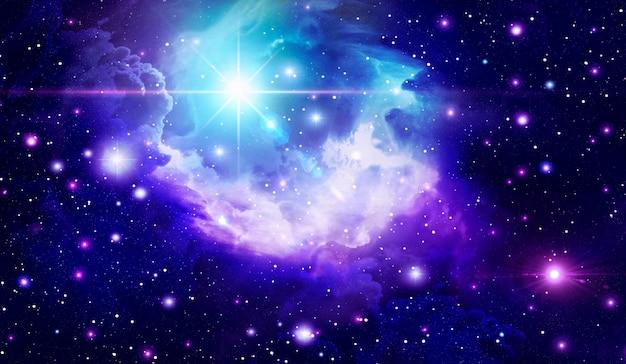 Fondo espacial abstracto fondo astronómico nubes brillantes espacio fantasía estrellas llameantes galaxia
