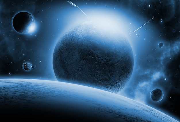 Fondo espacial con planetas ficticios.