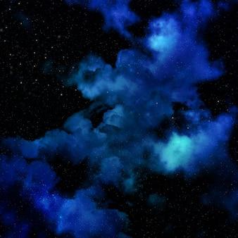 Fondo del espacio 3d con cielo nebulosa