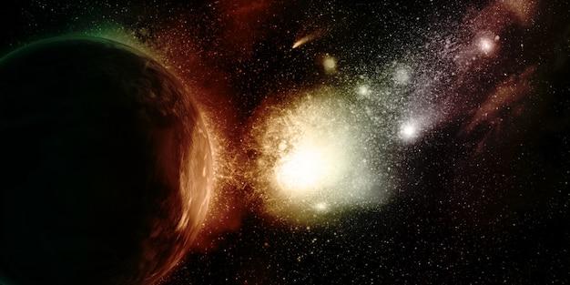 Fondo de espacio 3d con planetas ficticios y nebulosa.