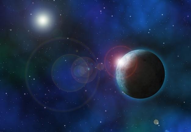 Fondo de espacio 3d con planetas ficticios.