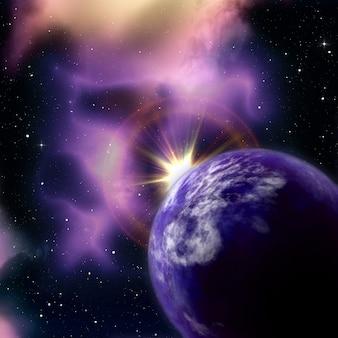 Fondo de espacio 3d con el sol saliendo detrás de un planeta ficticio