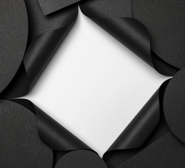 Fondo de espacio de copia circular y recorte blanco