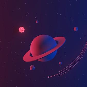 Fondo del espacio o de la galaxia con el planeta y la estrella, ilustración 3d.