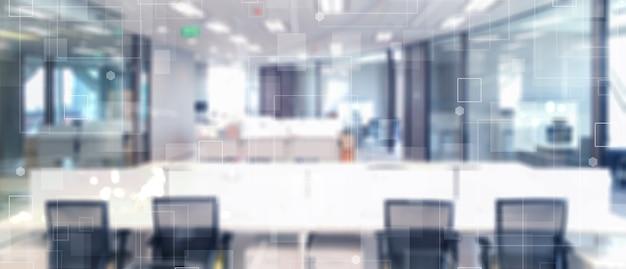 Fondo de espacio de oficina interior de movimiento de tecnología borrosa abstracto con forma de conexión de tecnología futurista