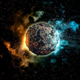 Fondo del espacio con planeta volcánico