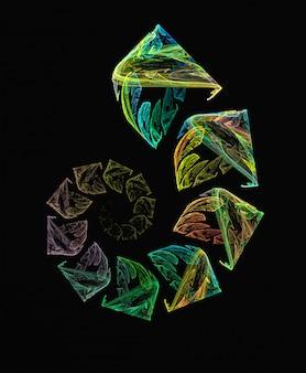 Fondo espiral abstracto verde y amarillo del fractal