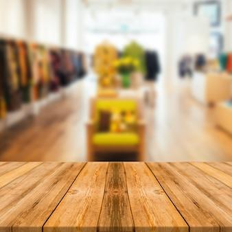 Fondo de exhibición de producto de sala de exposición de vestido de mesa de madera