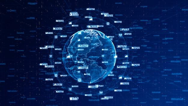 Fondo del extracto del concepto de la red de los datos y de comunicación de la red de digitaces. fuente original mundial de la nasa.