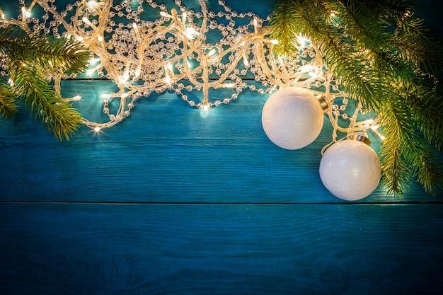 Fondo de fama de luces de guirnalda de navidad
