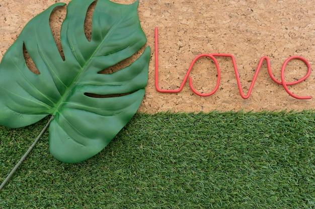 Fondo fantástico con palabra amor y hoja verde