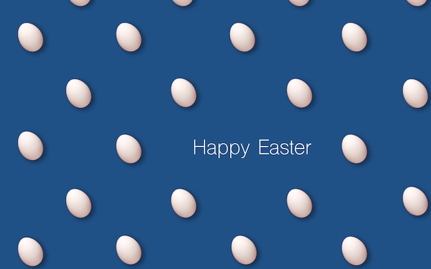 Fondo feliz de la decoración de pascua, huevos blancos. fondo del concepto de pascua