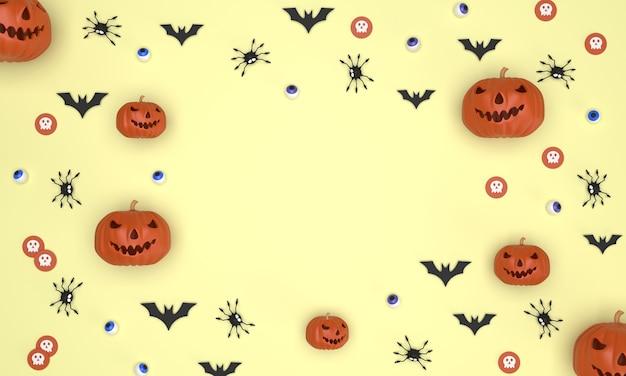 Fondo del festival de halloween sobre fondo amarillo fantasma calabaza murciélagos globos oculares arañas monedas fantasma