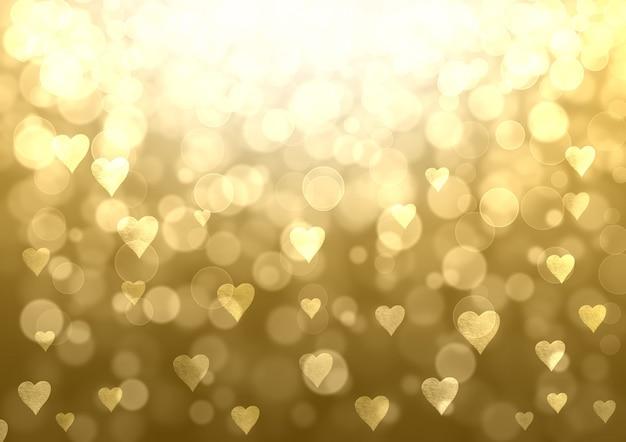 Fondo festivo abstracto de san valentín de oro. textura de patrón de efecto brillo bokeh con corazones.