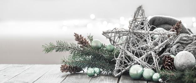 Fondo festivo de año nuevo en un ambiente hogareño.