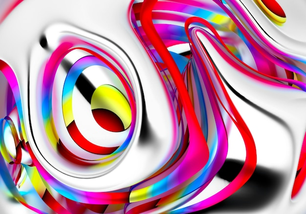 Fondo festivo de fiesta surrealista con parte de meta bola en líneas curvas onduladas con rayas en el interior en color púrpura rosa amarillo arco iris tropical brillante