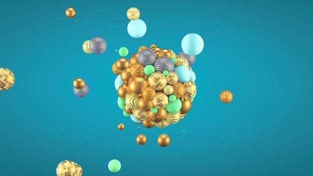 Fondo festivo, positivo, brillante con bolas. representación 3d