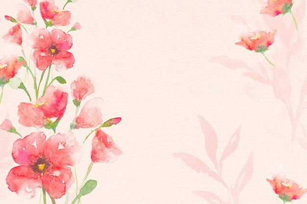 Fondo de flor de borde acuarela amapola en temporada de primavera rosa