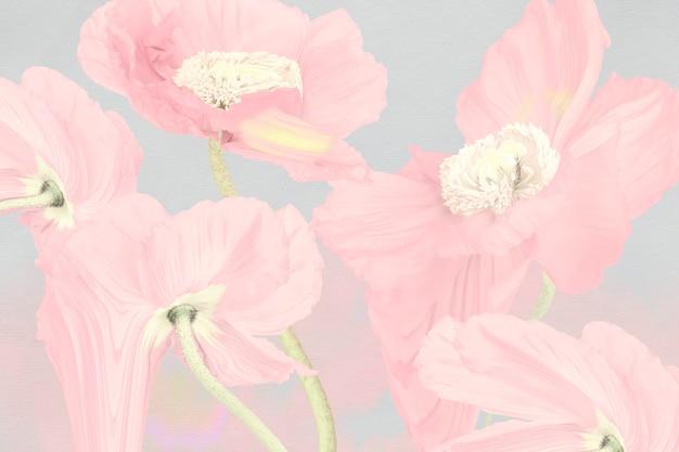 Fondo floral, arte psicodélico amapola rosa