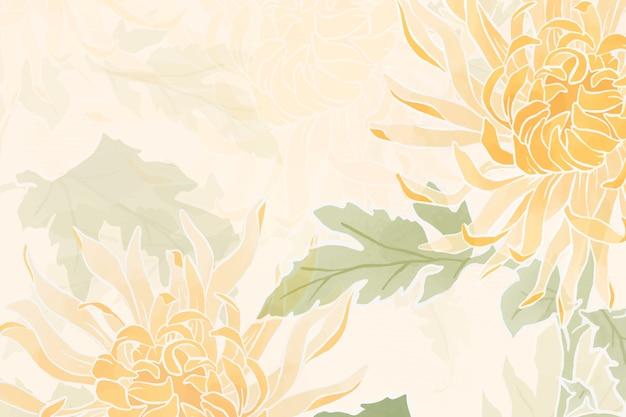 Fondo floral crisantemo dibujado a mano