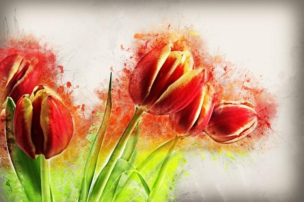 Fondo floral pintado a mano