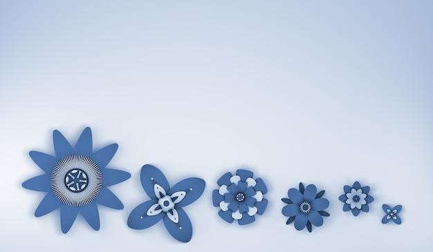 Fondo floral para la temporada de primavera con copia espacio ilustración 3d