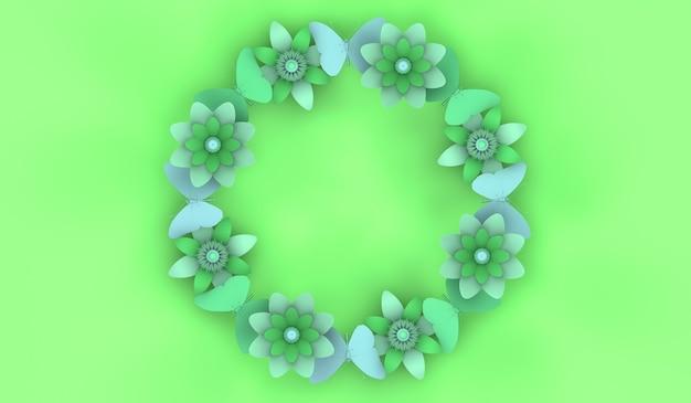 Fondo floral de la temporada de primavera con ilustración 3d de espacio de copia