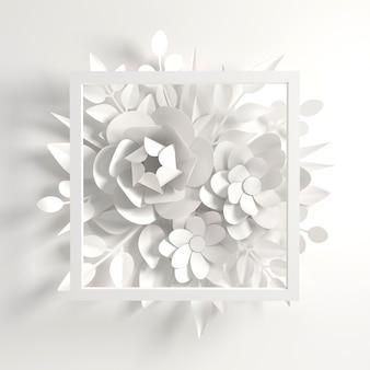 Fondo de flores de papel blanco