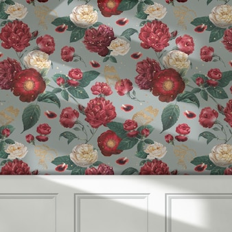 Fondo de flores rojas de papel tapiz vintage