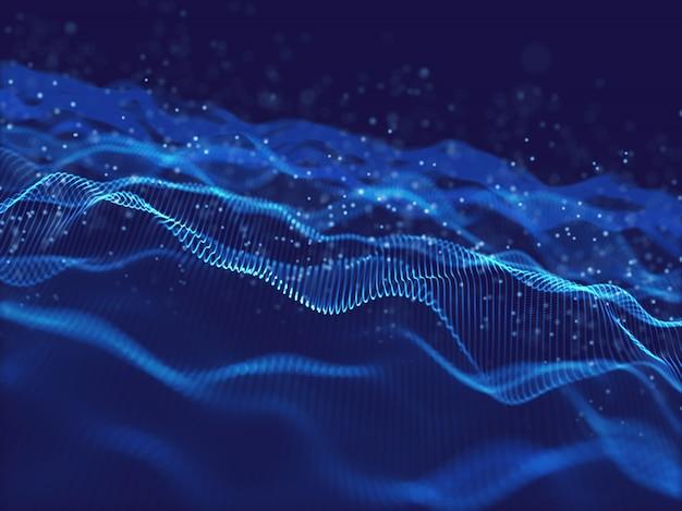 Fondo de flujo de movimiento 3d con partículas digitales