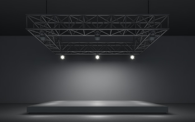 Fondo de foco y lámpara con escenario