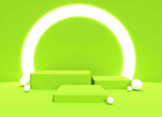 Fondo de fondo de podio 3d pastel verde suave fondo de renderizado realista plataforma soporte de luz de estudio