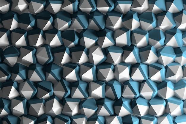 Fondo con formas geométricas abstractas de icospheres en azul y blanco.