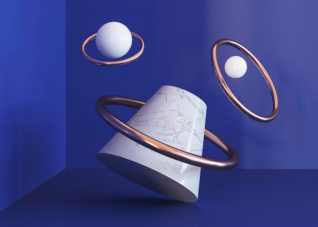 Fondo de formas geométricas de anillos voladores