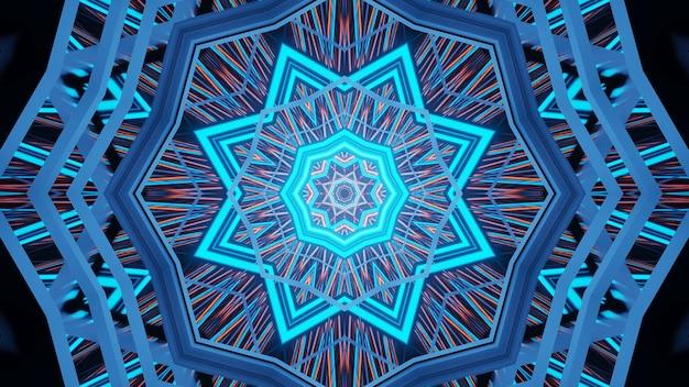 Fondo de formas geométricas con luces láser azules brillantes.