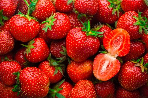 Fondo de fresas rojas frescas