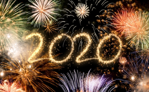 Fondo de fuegos artificiales de año nuevo 2020