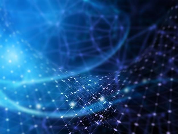 Fondo futurista 3d con líneas y puntos de conexión.