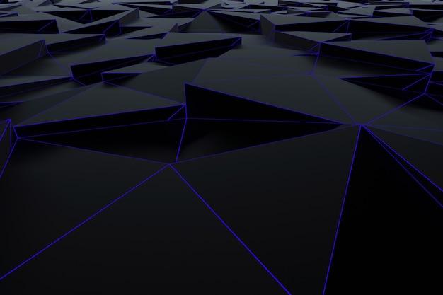 Fondo futurista abstracto de baja poli de triángulos negros con una rejilla azul luminosa. representación 3d minimalista en negro.